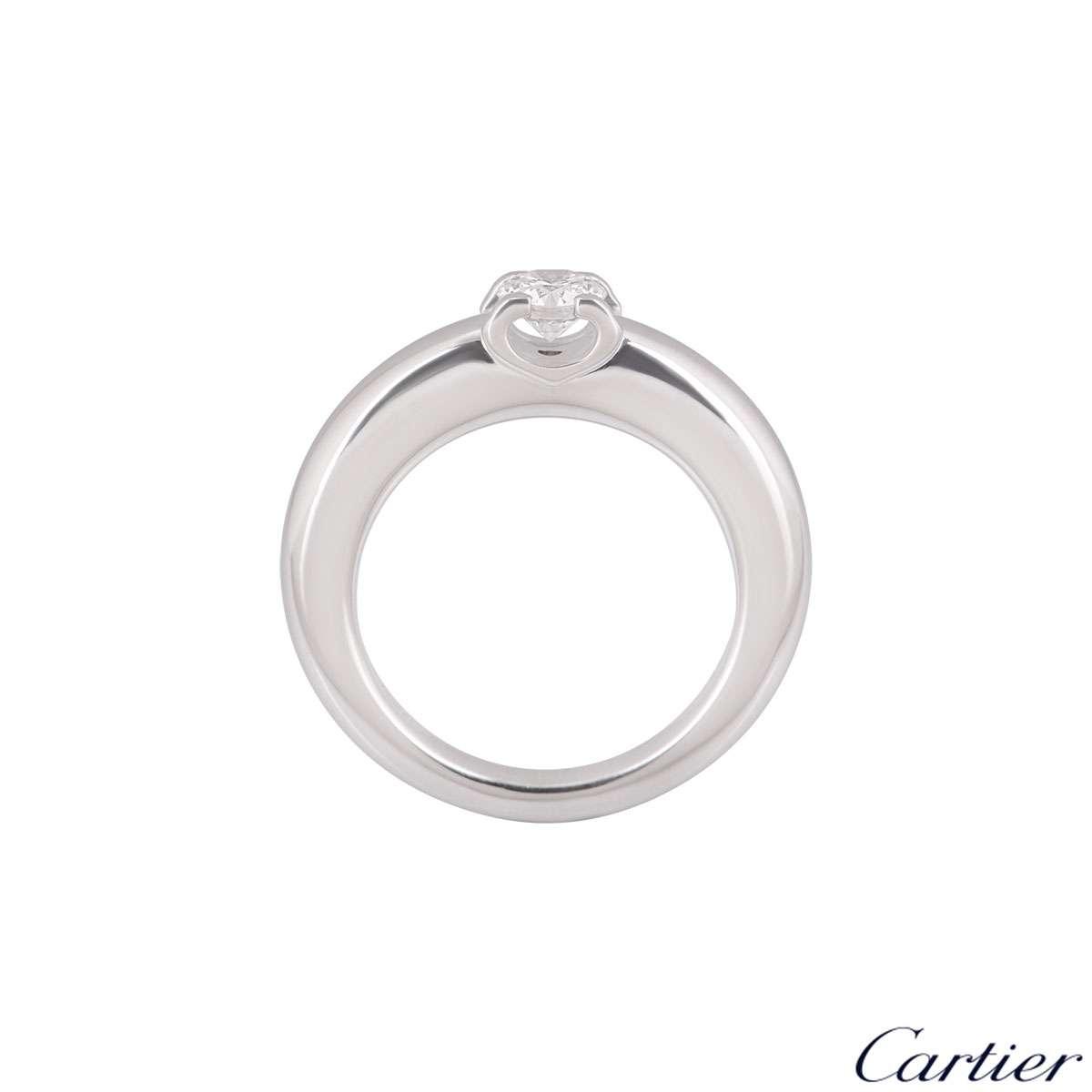 Cartier 18k White Gold Diamond C De Cartier Ring Size 48